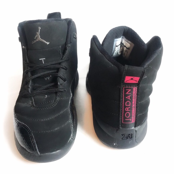 info for 5e9a5 28f34 Air Jordan 12 Retro ❥ Black & Pink ❥ 1 Y